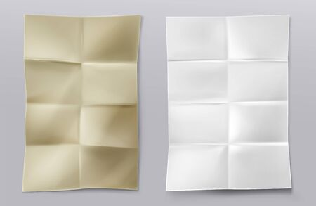 Folded blank paper sheets top view. Vector realistic mockup of white and kraft paper with crossing creases. Wrinkled leaflet, flyer, crumpled document pages isolated on gray background Stock Illustratie