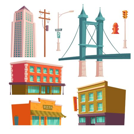 City buildings, modern houses architecture bridge, store, pizzeria and multistory skyscraper tower, street lamp, fire hydrant and high voltage pole with traffic light. Cartoon vector illustration