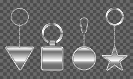 Keychains set. Metal round, square, triangle and star keyring holders isolated on transparent background. Silver colored accessories or souvenir pendants mock up. Realistic 3d vector icons, clip art