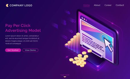 Pay per click isometric landing page, computer with cursor clicking on ad button, money falling from desktop. Ppc business, cpc advertising model, sponsored listing technology 3d vector web banner Иллюстрация