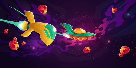 Spaceships race in outer space. Galactic competition of speed drive on rockets. Vector cartoon illustration of cosmos landscape with alien rocketships, asteroids and stars