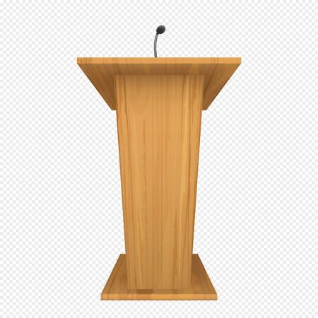 Wooden podium or pulpit with microphone for speaker on conference, lecture or debate. Vector realistic rostrum for orator on presentation for press, communication with public. Tribune for speech 向量圖像