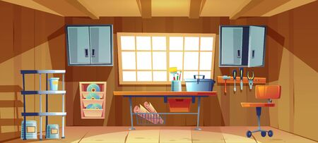 Garage interior with tools for carpentry and repair works. Vector cartoon illustration of workshop or storeroom with toolbox and paint brushes on workbench, screwdriver, hammer and plier on wall board Illustration