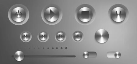 Music control panel with steel buttons, knobs, switch and volume slider. Vector realistic interface of audio or video application with silver buttons with play, stop, pause and power icons