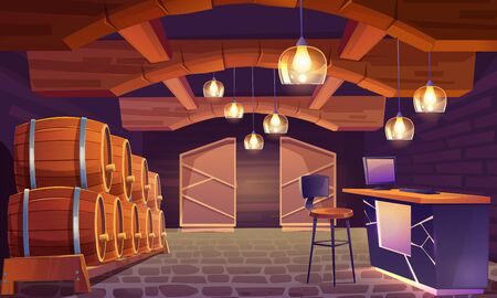 Wine shop, cellar interior with wooden barrels, brick walls and floor, lamps in shape of wineglass. Alcohol beverage store with pc on counter desk and high stool, basement. Cartoon vector illustration Illustration