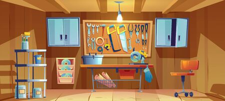 Garage interior with instruments, tools for carpentry and repair works. Empty workshop with mitre saw and toolbox on workbench. Screwdriver, pliers and hammer on wall board Cartoon vector illustration