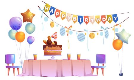 Kids birthday party decoration, festive cake with four years old candle on table with plates and glasses, chairs, balloons bunches and garlands isolated on white background Cartoon vector illustration
