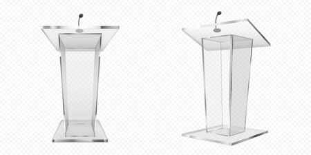 Glass pulpit, podium or tribune front side view. Rostrum stand with microphone for conference debates, trophy isolated on transparent background. Business presentation speech pedestal Realistic vector