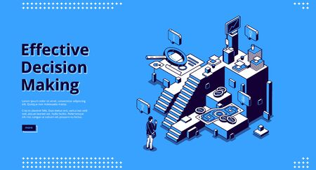 Effective decision making banner. Concept of choose right way in business, job or life. Vector landing page with isometric illustration of confused man and stairs for different options