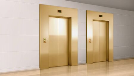 Metal golden elevator doors in hallway perspective view. Vector realistic empty modern office or hotel lobby interior with lift, metal panel with buttons and floor display on wall