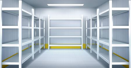 Cold room in warehouse with empty metal racks. Vector cartoon interior of industrial storage freezer with shelves, tiled walls and floor. Refrigerator chamber in factory, store or restaurant