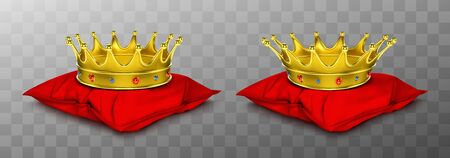 Gold royal crown for king and queen on red pillow. Vector realistic luxury golden corona with gems, medieval diadem for prince, princess or emperor on cushion isolated on transparent background Vectores