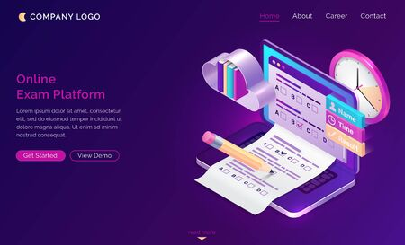 Online exam platform isometric landing page. Laptop with test or quiz questions on screen. Computer app for student examination with questionnaire form, distant education task. 3d vector web banner
