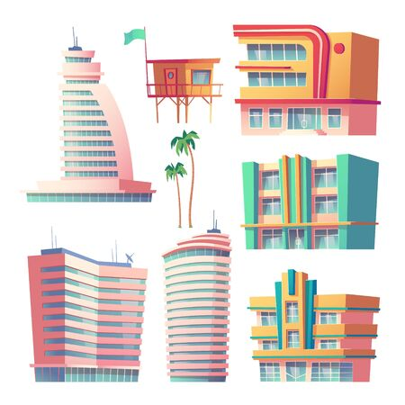 Buildings, hotels in Miami at summer time, modern house architecture. Isolated skyscrapers with glass windows and satellite antennas, palm trees and rescue tower. Cartoon vector illustration, set Illustration