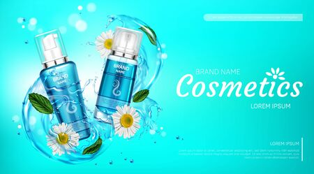Cosmetic products in water splash with chamomile flowers mint leaves. Vector realistic brand poster with herbal cosmetics in blue tubes for hair face body care. Promo banner, advertising background