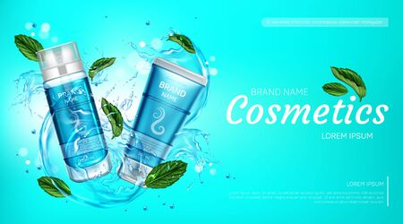 Cosmetic bottles ad banner, shaving foam and cream tubes with mint, water splashes and droplets on blue background. Body care beauty cosmetics products, Realistic 3d vector advertising promo poster