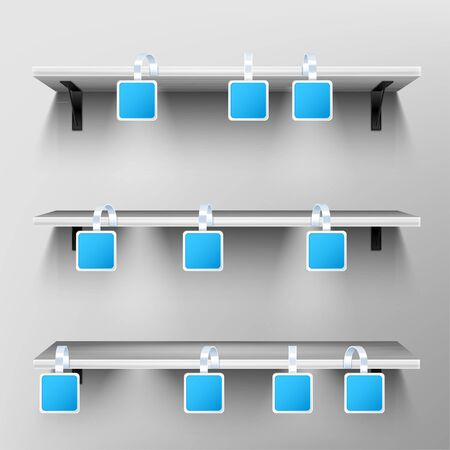 Wobblers on wooden shelves. Blank price tags hang on rack on grey wall background. Square blue paper stickers on plastic or metal strips mock up. clear pricing labels, Realistic 3d vector mockup