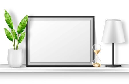 Empty photo frame stand on white shelf with potted plant, hourglass and table lamp, home interior decor with blank place for picture and black border. Realistic 3d vector bookshelf with accessories