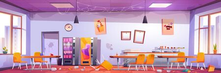 Abandoned school cafe, crashed university canteen, dirty dining room with spider webs on walls, scattered rubbish and broken furniture, tables and chairs, vending machines, Cartoon vector illustration 向量圖像