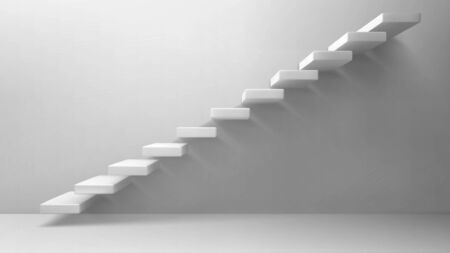 3d stairs, white staircase on blank wall background. Way to business success, career ladder, architecture construction for building interior or exterior decoration. Realistic vector illustration
