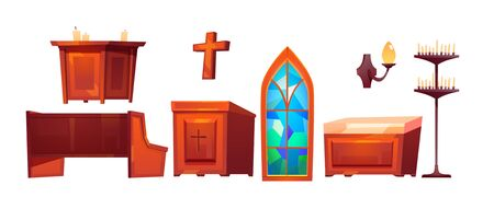 Catholic church inside interior stuff glass stained window, altar and wooden bench, cross, tribune, wall lamp, candles isolated on white background. Cartoon vector cathedral furniture and accessories Illustration