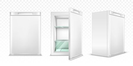 Mini refrigerator, empty white kitchen fridge with close and open door for fresh food or drinks. Realistic 3d vector cooler with glass shelves front and corner view isolated on transparent background. Vettoriali