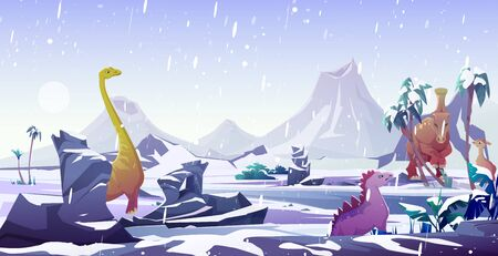 Dinosaurs in ice age. Animals extinction by cold in arctic winter. Vector cartoon prehistoric landscape with snow, frozen water and dino characters, ancient reptiles