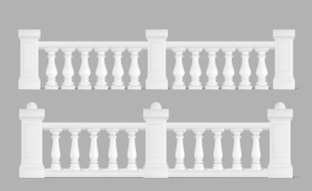 Marble balustrade, white balcony railing or handrails. Banister or fencing sections with decorative pillars. Panels balusters for architecture design isolated elements Realistic 3d vector illustration