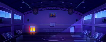 Basketball court interior at night, dark sports arena or hall for team games with hoop, scoreboard and empty fan sector seats. Indoor stadium illuminated with moonlight, cartoon vector illustration Vecteurs