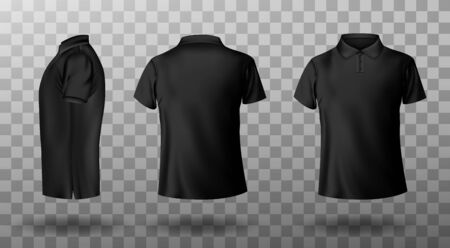 Men black polo shirt front and back view. Vector realistic mockup of male blank t-shirt with collar and short sleeves, sport or casual apparel isolated on transparent background Ilustracja