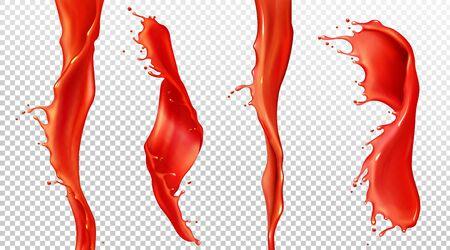 Éclaboussure et ruisseau de jus de tomate rouge. Maquette vectorielle réaliste d'ondes en spirale de ketchup liquide, sauce, jus de fraise. Flux de sang tordu avec éclaboussures et gouttes isolés sur fond transparent Vecteurs