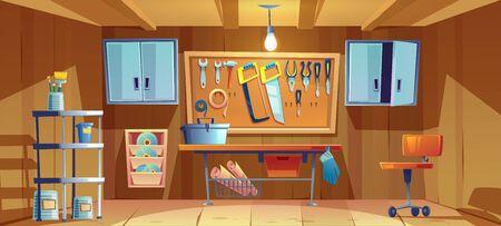 Garageninnenraum mit Instrumenten, Werkzeugen für Tischler- und Reparaturarbeiten. Leere Werkstatt mit Schraubendreher, Zange und Hammer an Bord, Werkbank, Werkzeugkasten und Bürsten. Cartoon-Vektor-Illustration