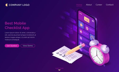 Checklist isometric landing page, pen put mark on check list document at smartphone with message mobile app on screen and alarm clock. Online survey, quiz, customer questionnaire, 3d vector web banner