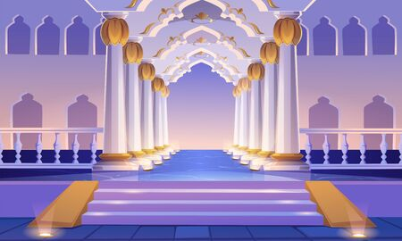 Castle corridor with staircase, columns and arches. Palace entrance with pillars and illumination. Medieval building architecture design, empty ball room, hall interior. Cartoon vector illustration
