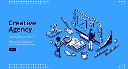 Creative agency banner. Digital design service, creative strategy for promotion and advertising company in social media. Vector landing page with isometric working people, computer and smartphone