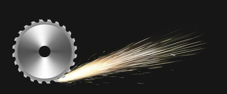 Rotating circular saw blade with fire sparks. Vector realistic illustration with flare effect of cutting metal by steel saw disc isolated on black background. Weld sparks of industrial works with iron