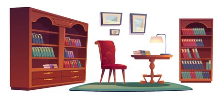Library vip interior set with bookcases, chair, desk and lamp. Vector cartoon set of old luxury furniture in home library or office with wooden bookshelves, armchair, carpet and picture frames