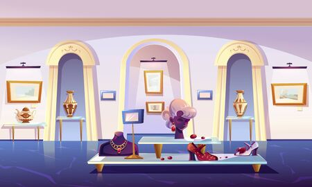 Museum installation, luxury items exhibition gold jewelry necklace and earrings with ruby gemstones on mannequin, female shoes, teapot and elegant vase, pictures in canvas, cartoon vector illustration