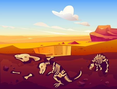 Fossil dinosaurs excavation, paleontology and archeology works. Vector cartoon illustration of desert landscape with buried skeletons of prehistoric reptiles underground Ilustração