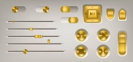 Music control panel with golden buttons, knobs, switch and volume slider. Vector realistic interface of audio or video application with gold colored buttons with play, stop, pause and power icons
