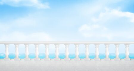 White marble balustrade on balcony with tiled floor and overlooking to sea. Stone handrail in classic roman style on terrace or seafront. Vector realistic landscape with baroque railing, ocean and sky
