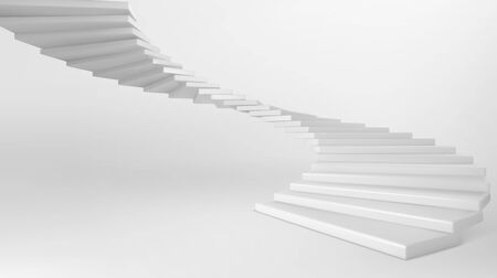 White spiral staircase isolated on background. Vector realistic mockup of empty circular stair with white concrete steps. Concept of progress, business development and future success