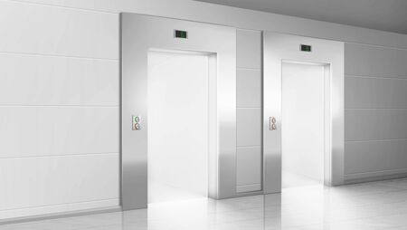Empty hallway with light from open elevators doors. Vector realistic modern office or hotel lobby interior with lift, metal panel with buttons and floor display on wall Vector Illustratie