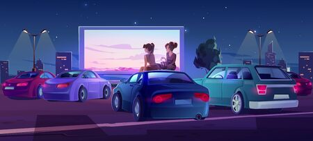 Outdoor cinema, drive-in movie theater with cars on open air parking. Vector cartoon illustration of summer night city with girls sitting on automobile roof and watching film on big screen