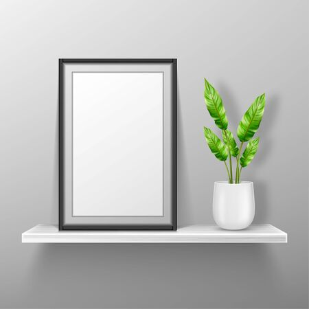 Empty photo frame stand on white shelf with potted plant, mockup of interior decoration with blank place for picture and black border. Vector realistic 3d portfolio, home, gallery or office bookshelf