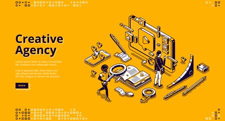Creative agency banner. Creative strategy of digital design for promotion and advertising company in social media. Vector landing page with isometric working people, computer and smartphone Ilustração