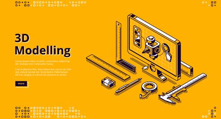 3D modelling banner. Software for digital render object, development design for print. Vector landing page with isometric model on computer screen and measure tools on yellow background