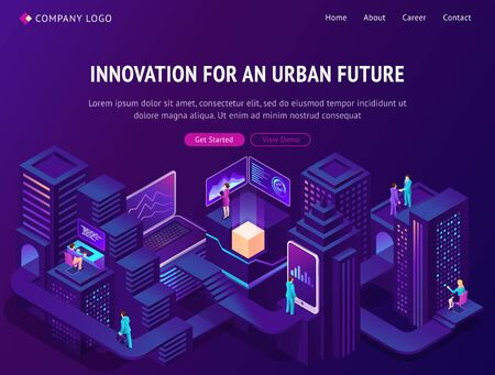 Innovation for urban future isometric landing page. Smart city with people using gadgets and technologies for life and business. Futuristic neon glowing smartcity buildings, 3d vector web banner