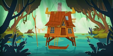 Stilt house in swamp with boat. Marsh landscape with old hut. Vector cartoon illustration of wild rain forest with lake, pond or bog with wooden house