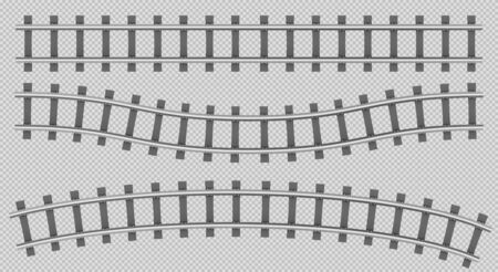 Train rails top view, railway track, straight, curve and wavy path, steel sleepers for metro, logistics transportation construction isolated on transparent background. Realistic 3d vector illustration Illustration
